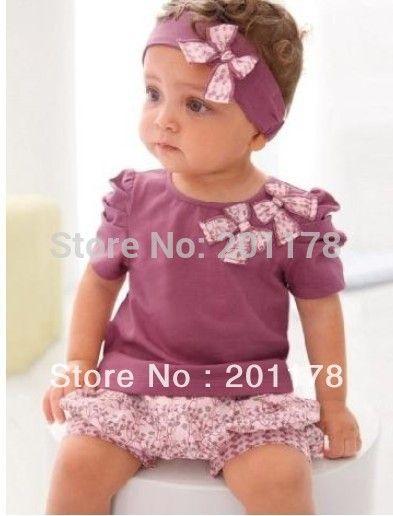 Cheap 101 #FREE envío la ropa del bebé de color rosa mariposa beadband + top + lace pantalones ventas al por menor, Compro Calidad Conjuntos de Ropa directamente de los surtidores de China:   Sistema de la ropa del bebé juegos del bebé ropa de bebé de color rosa mariposa beadband + top + lace pantalones