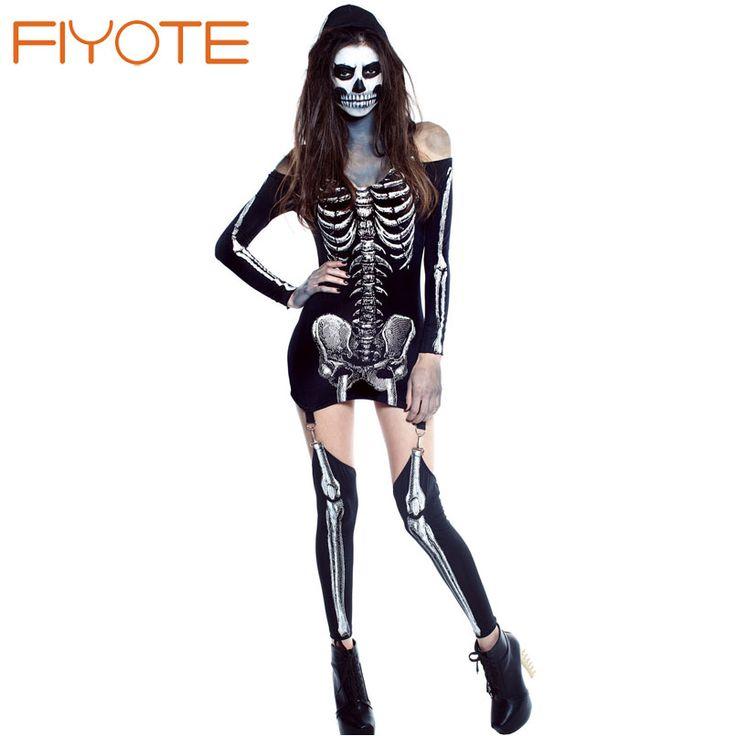 fiyote fashion women punk x rayed halloween off shoulder skeleton dress costume cosplay woman carnival