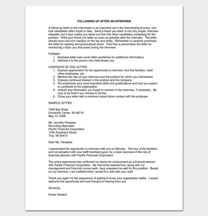 Follow Up Letter Letter After Interview - Sample, Example, Format