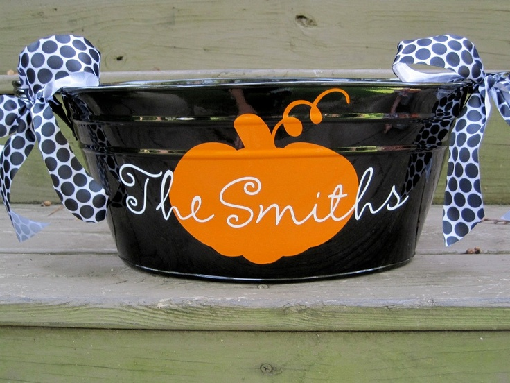 Personalized Halloween tubsmany designs available by twosisters76
