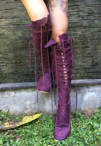 Plum knee high boots, about $277.00
