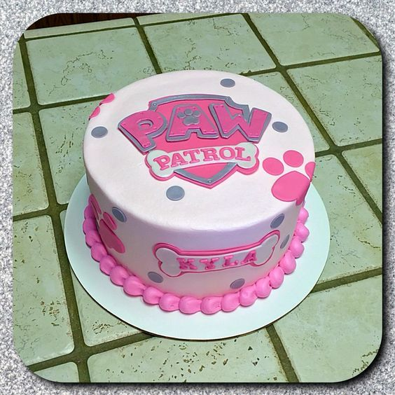 Pink PAW Patrol birthday cake customized with the birthday girl's name. So cute! (Paw Patrol Cake)