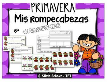 Rompecabezas de oraciones es una actividad divertida para practicar estructura de oraciones, puntuacin correcta y secuencia de eventos. En este paquete gratuito encontrar un cuento corto de tres oraciones. Corte las  piezas de los rompecabezas y lamnelas para que duren ms.