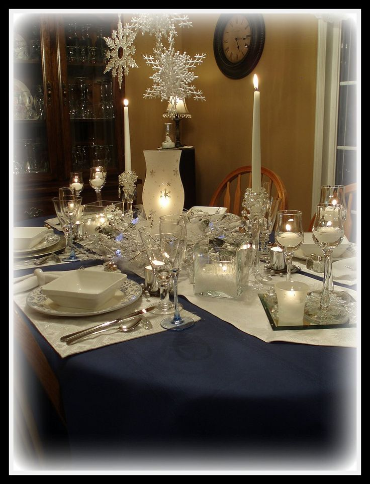 This setting in white would fit in almost any winter dinner. www.Partylite.Biz/GoldenLites