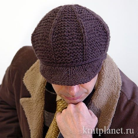 Вязаная спицами и крючком мужская зимняя кепка. Мастер-класс
