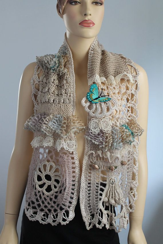 Freeform Crochet Delicate Scarf Stole Wearable by levintovich,