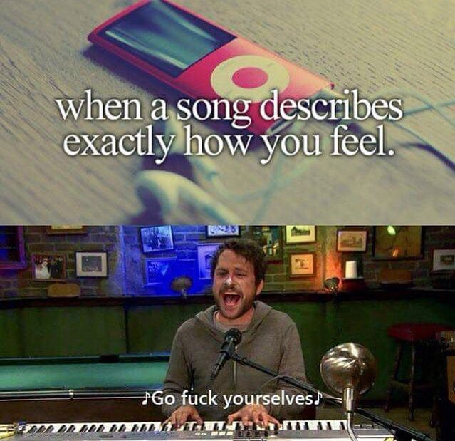 When a song describes how you feel Charlie day it's always sunny in Philadelphia