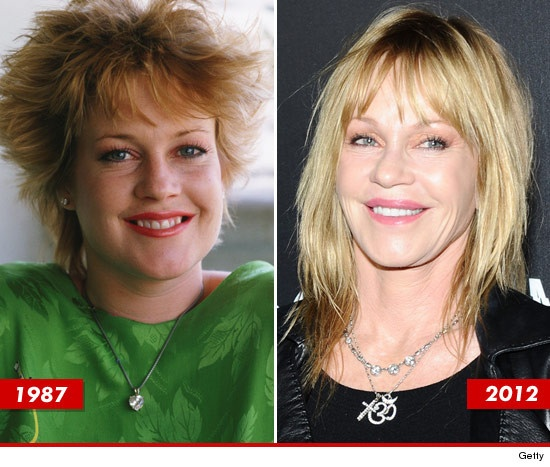 Melanie Griffith: OMG...she doesn't even look the same at ALL!!! Not even close to what she looked like in the later 90's. She used to be so cute. Plastic surgery is NOT always the way to go. (Obviously)