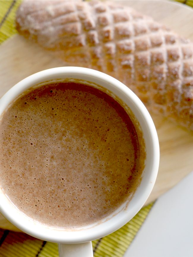 champurrado recipe -- water 2 cinnamon sticks 1 star anise 1/2 c. corn flour masa 4 c. milk 1 Mexican chocolate disk 6 oz. piloncillo