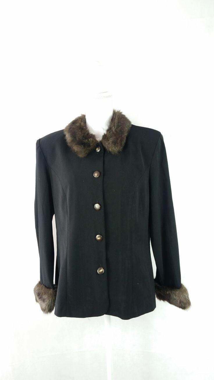Vintage 90s Faux Fur Collar Luxury Clueless Shirt Sz 16/XL
