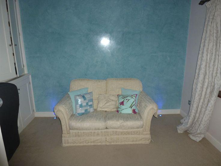 3 coat turquoise stucco with 2 coats of wax.