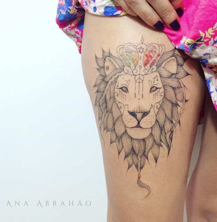 Reggae Lion on Girls Thigh | Best tattoo ideas & designs