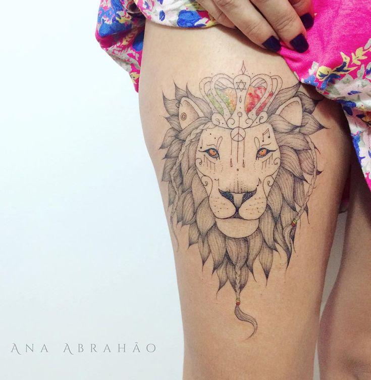 Reggae Lion on Girls Thigh | Best tattoo ideas & designs