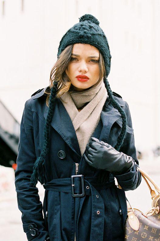 Brazilian model Daniela Braga fter Lorena Sarbu, on a very cold and windy day in NYC, February 2012.