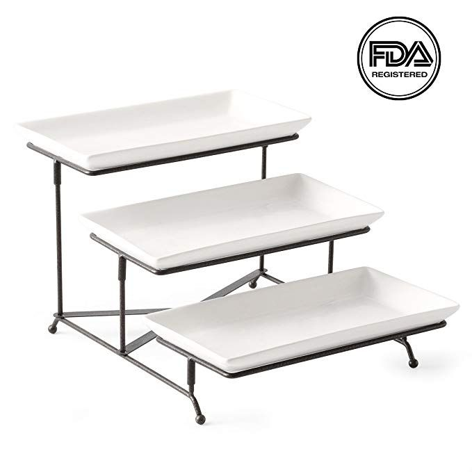 3 Tier Serving Stand Collapsible Sturdier Rack With 3 Porcelain Serving Platters Tier Serving Trays For Fruit D Serving Stand Tiered Serving Stand Coffee Table