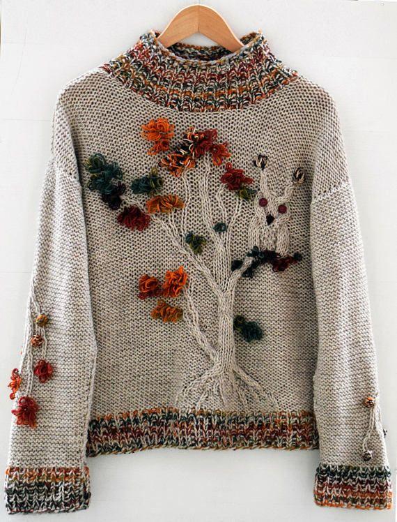 Light brown oversize sweater handmade Beige owl forest tree