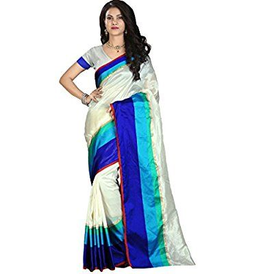Z Fashion White Blue Satin Silk Saree