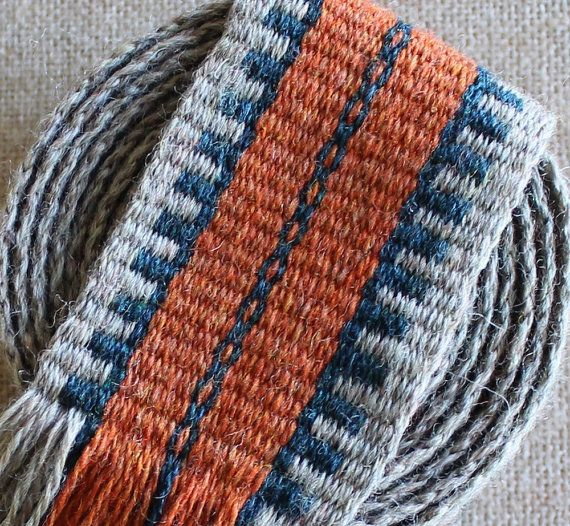 Inkle trim woven in shades of sage, loden blue and melon in 100% Shetland wool. Use as a belt or trim for your tunic, kirtle or Viking apron dress. The