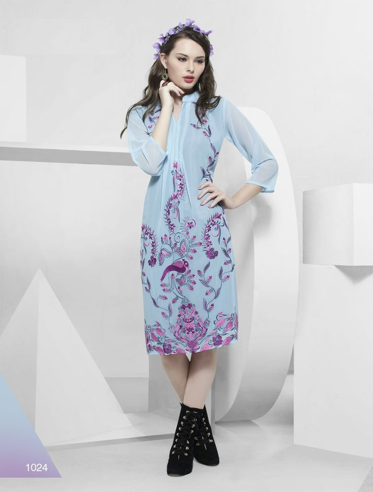Georgette kurtis avaialble  in Ten Diffrent colours and Design and size is (L-38 , XL-40)