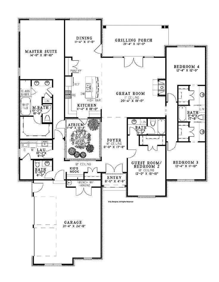 Atrium home plans home plans pinterest house plans for Atrium ranch floor plans