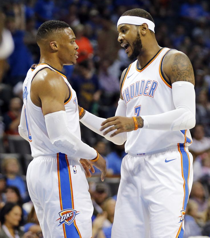 Oklahoma City's Russell Westbrook (0) and Carmelo Anthony (7) talk in the first quarter during a preseason NBA basketball game between the Oklahoma City Thunder and the New Orleans Pelicans at Chesapeake Energy Arena in Oklahoma City, Friday, Oct. 6, 2017. Photo by Nate Billings, The Oklahoman