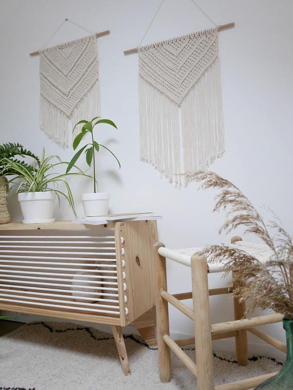 POMPANO BEACH Tenture Murale en Macramé, baguette en bois, noeud plat et noeud baguette  Macrame wall hanging  South Beach Collection
