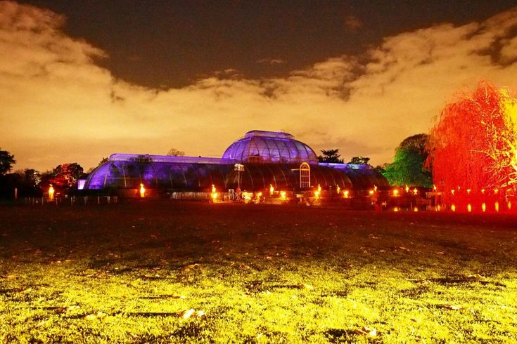 The Palm House at Kew Gardens is lit up with a moving light show for Christmas at Kew 2016, which is held at the Royal Botanic Gardens, Kew from the 23rd December 2016, until the 2nd January 2017.