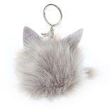 Grey Cat Pom Keychain