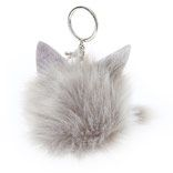 Grey Cat Pom Keychain