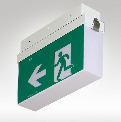 FAMCO F9920L/WP Weatherproof Wall or Ceiling mounted Maintained Emergency Exit.  Fast fit bracket and connector for ease of installation. Extruded aluminium body. High emergency classification