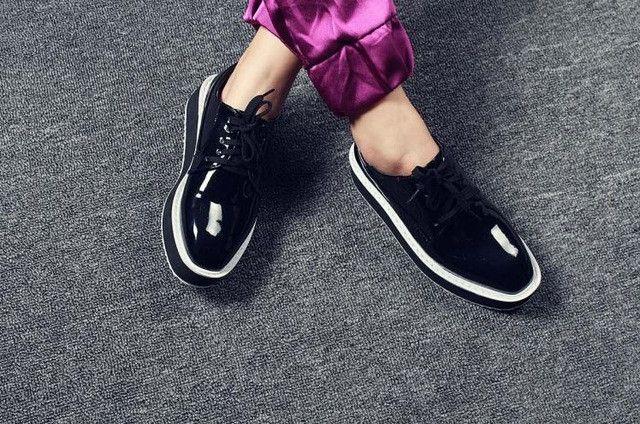 Women's Creepers Flat Platform Shoes PU Leather Flats Shoes Women Ladies C Black Oxford Shoes For Women Plus Size 34-43