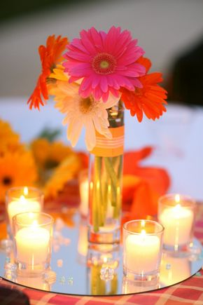 Love it! I know I want to do the mirror for the centerpiece but I don't know if Ohme Gardens allows open flame...gerber daisies are so cute! Thanks @Jenn Bickford