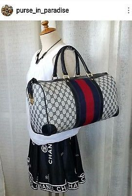 38b4d2919b3a Vintage Gucci Carry-on Travel Duffle Bag GG Monogram Authentic 70's Rare  Classic
