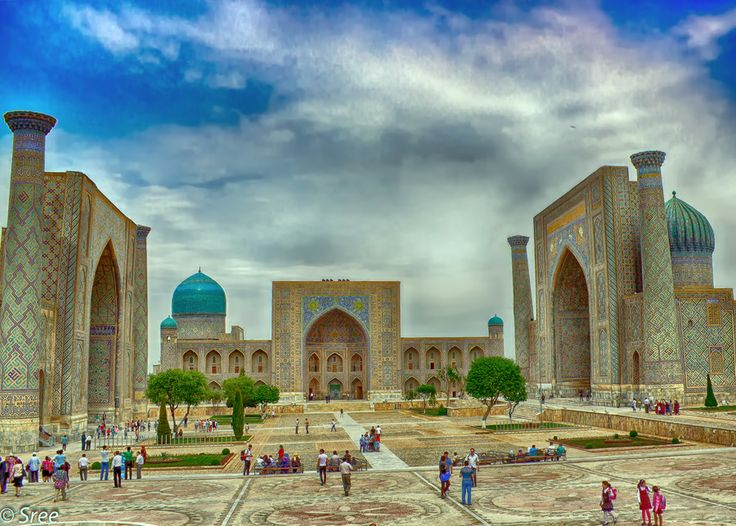 The Registan was the heart of the ancient city of Samarkand of the Timurid dynasty, now in Uzbekistan