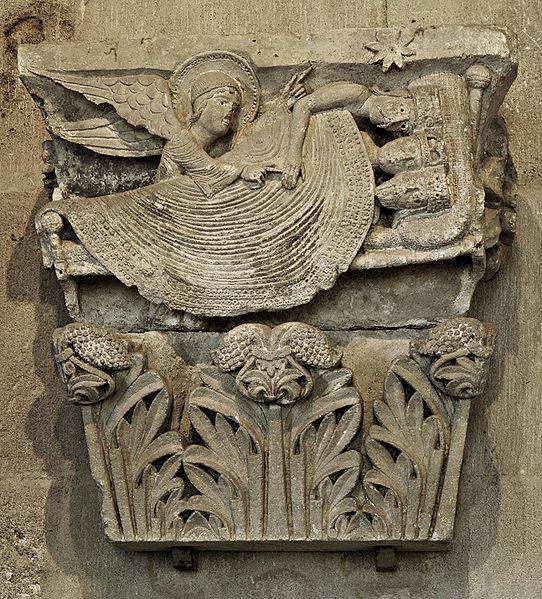 Dream of Three Wise Men (Magi). Capital from Autun cathedral. Sculptor: Gislebertus
