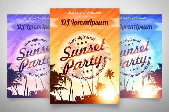 4 EPS Sunset Party posters templates by Art-of-Sun on @creativemarket