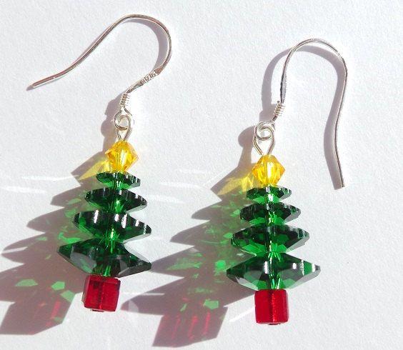 Christmas Tree -  Handmade Genuine Swarovski Crystal and Sterling Silver Bead Earrings by SilverBrightStudio on Etsy