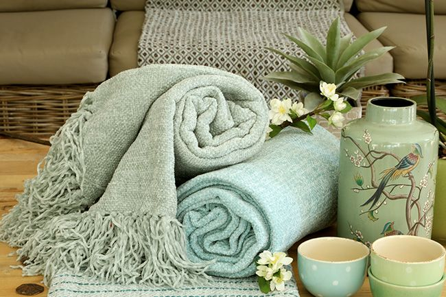 new range of sesli chenille throws in soothing and calming colours