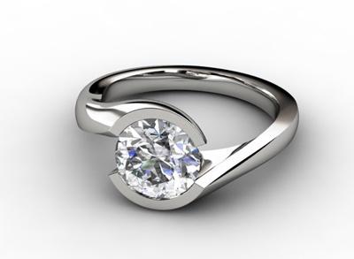 Diamant Verlobungsring Entrelacé, 750er Weißgold 18 Karat