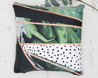Cushion with unique green marble and polka dots print with gold lines, handmade designer cushions, UK seller, luxury cushions, home decor