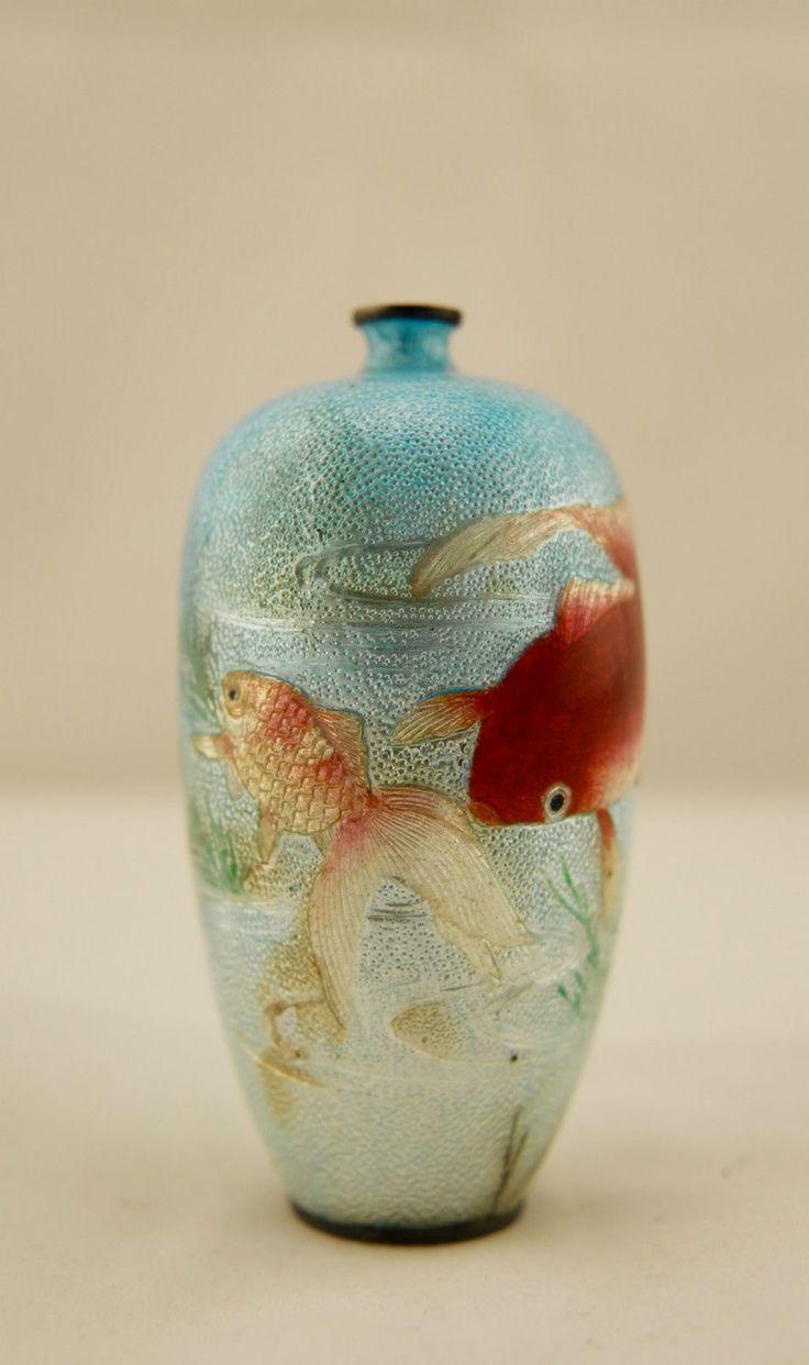113 best japanese cloisonne maker marks images on pinterest signed kawaguchi bunzaemon meiji japanese cloisonne basse taille koi fish vase reviewsmspy