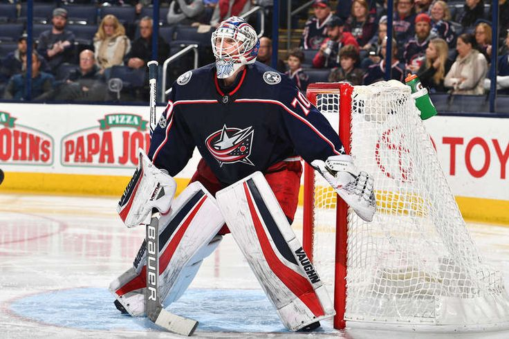 COLUMBUS, OH - NOVEMBER 28: Goaltender Joonas Korpisalo #70 of the Columbus Blue Jackets defends the net against the Carolina Hurricanes on November 28, 2017 at Nationwide Arena in Columbus, Ohio. (Photo by Jamie Sabau/NHLI via Getty Images)