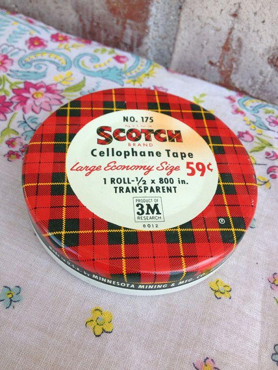 Vintage Scotch Cellophane Tape Advertisement Tin - Minnesota Mining & Manufacturing Co. - Red / Yellow / White Plaid on Etsy, $4.95