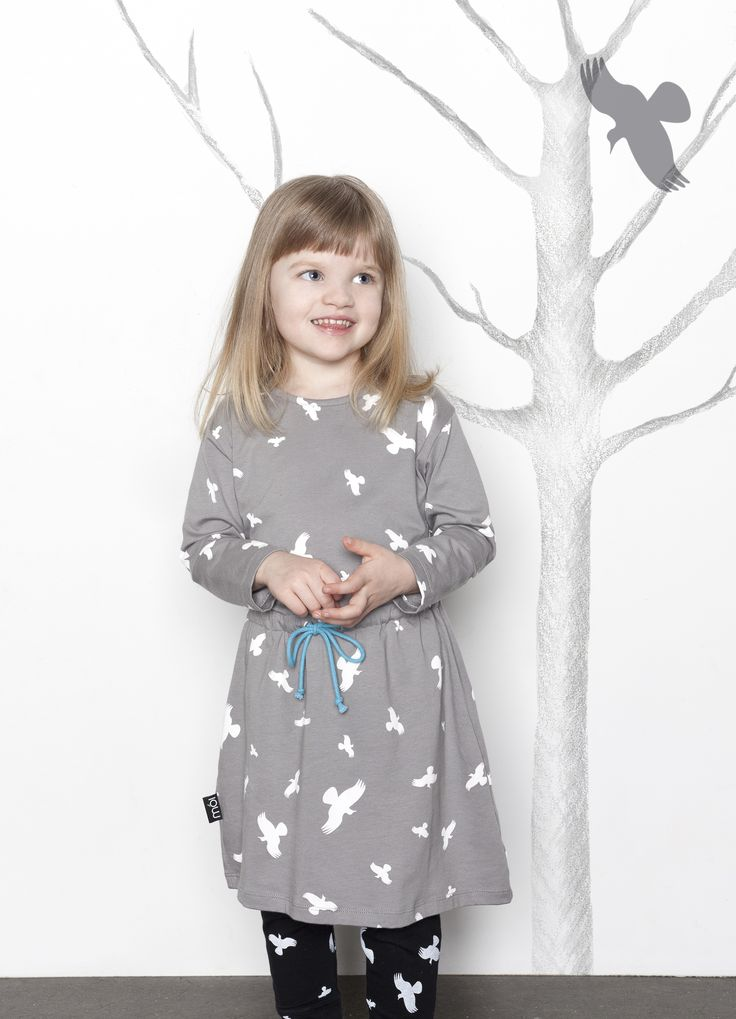 Play Dress, color grey raven. Cool and urban children's clothing brand originated from Scandinavia. Eco-friendly brand!