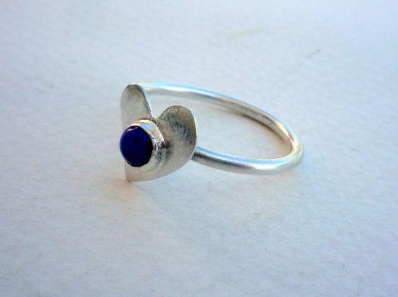 Stacking Sterling Silver Ring. Lapis Lazuli Ring.Sterling Silver Stacking Ring.Blue Gemstone Ring.Modern Ring.Heart Sterling Silver Ring.