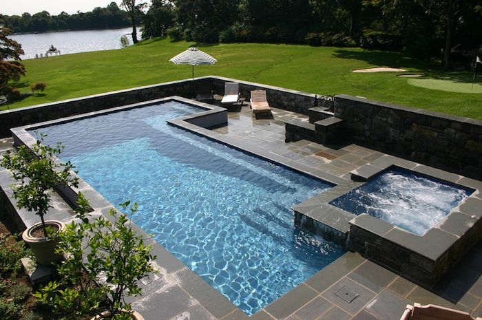 Large Pool Hot Tub Umbrella Garden Furniture Cement Tiles Small Patio Ideas Potted Plants Small Gardens Small Garden Small Backyard Pools