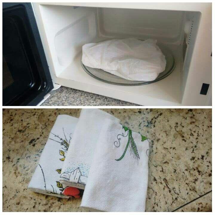 Para clarear guardanapos: Molhar o guardanapo, passar sabão em barra, colocar em um saco plástico  no microondas por 1 minuto e 30 segundos.