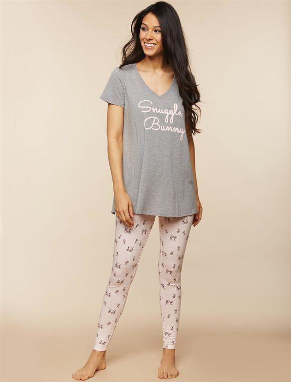 bf30c17e29a70 Snuggle Bunny Nursing Pajama Set, Bunny Print   Maternity fashion ...
