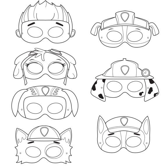 Paw Patrol Inspired Printable Black and White Line Art Party Masks