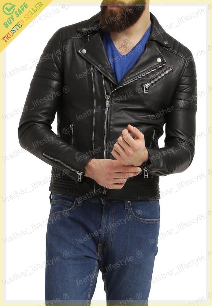 Men's Genuine Lambskin Leather Motorcycle Jacket Biker Jacket Designer fit MJ17 #LeatherLifestyle #Motorcycle #PerfectforMotorcycleandWinter